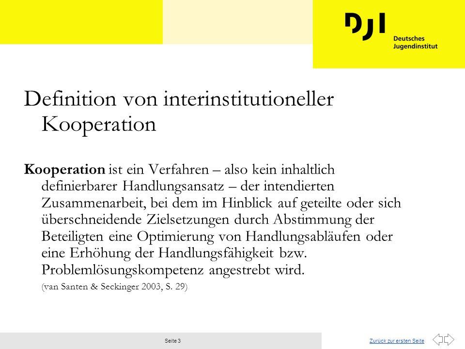 Zurück zur ersten SeiteSeite 3 Definition von interinstitutioneller Kooperation Kooperation ist ein Verfahren – also kein inhaltlich definierbarer Handlungsansatz – der intendierten Zusammenarbeit, bei dem im Hinblick auf geteilte oder sich überschneidende Zielsetzungen durch Abstimmung der Beteiligten eine Optimierung von Handlungsabläufen oder eine Erhöhung der Handlungsfähigkeit bzw.