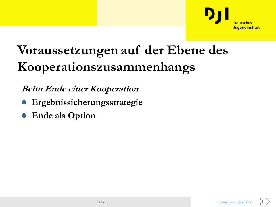 Zurück zur ersten SeiteSeite 9 Beim Ende einer Kooperation l Ergebnissicherungsstrategie l Ende als Option Voraussetzungen auf der Ebene des Kooperationszusammenhangs