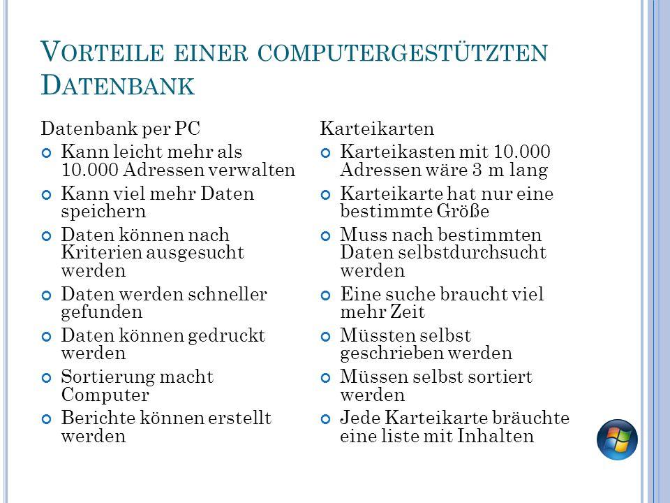 V ORTEILE EINER COMPUTERGESTÜTZTEN D ATENBANK Datenbank per PC Kann leicht mehr als 10.000 Adressen verwalten Kann viel mehr Daten speichern Daten kön
