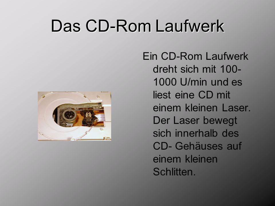 Das CD-Rom Laufwerk Ein CD-Rom Laufwerk dreht sich mit 100- 1000 U/min und es liest eine CD mit einem kleinen Laser. Der Laser bewegt sich innerhalb d