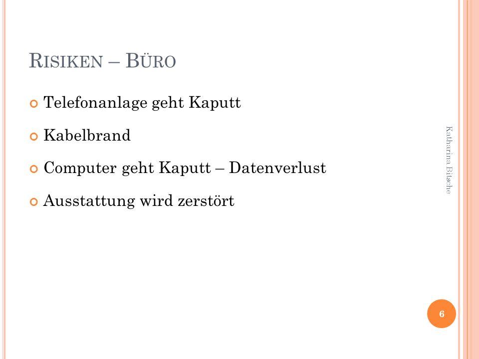R ISIKEN – B ÜRO Telefonanlage geht Kaputt Kabelbrand Computer geht Kaputt – Datenverlust Ausstattung wird zerstört 6 Katharina Bitsche
