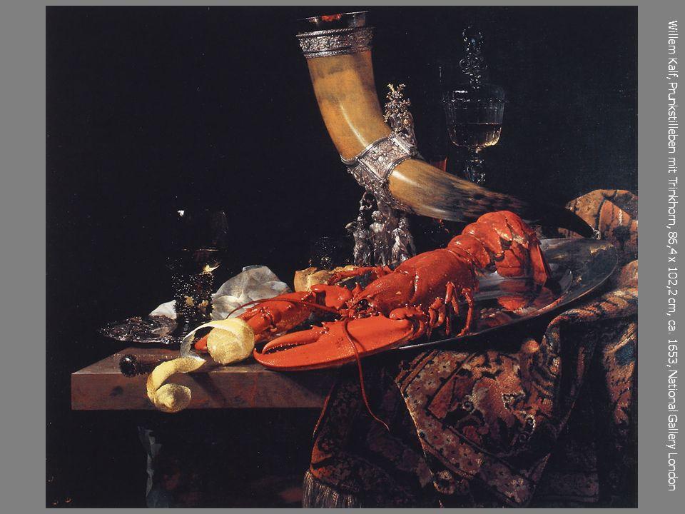 Willem Kalf, Prunkstilleben mit Trinkhorn, 86,4 x 102,2 cm, ca. 1653, National Gallery London