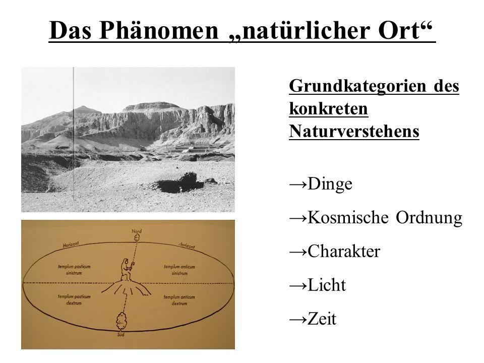 """Das Phänomen """"natürlicher Ort Grundkategorien des konkreten Naturverstehens →Dinge →Kosmische Ordnung →Charakter →Licht →Zeit"""