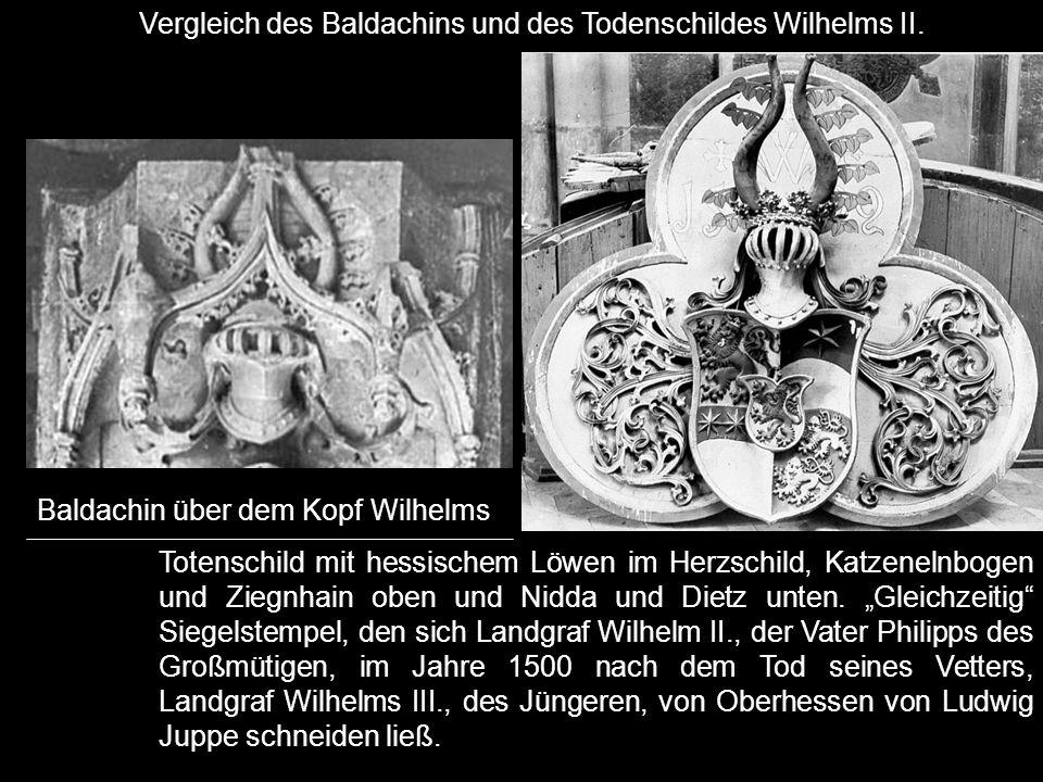 """Totenschild mit hessischem Löwen im Herzschild, Katzenelnbogen und Ziegnhain oben und Nidda und Dietz unten. """"Gleichzeitig"""" Siegelstempel, den sich La"""
