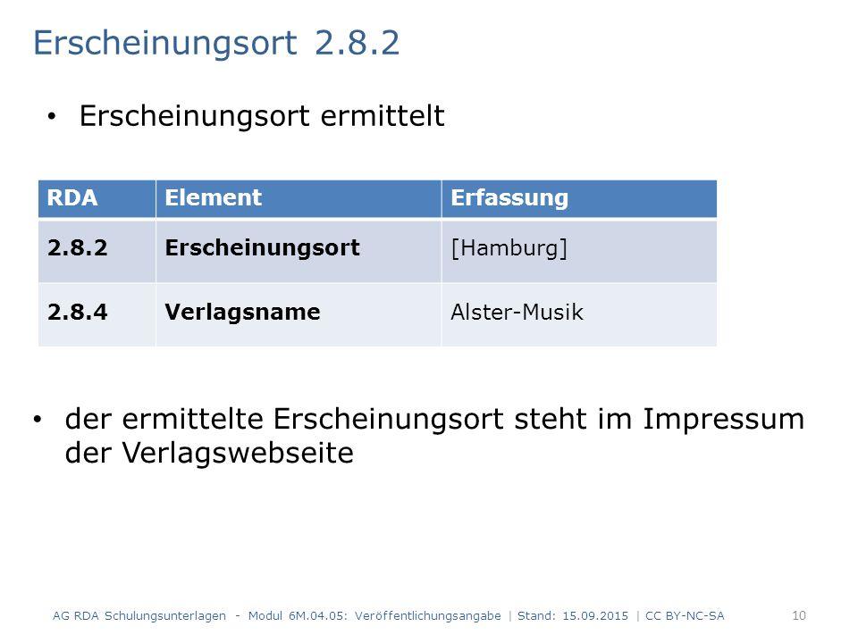 Erscheinungsort 2.8.2 der ermittelte Erscheinungsort steht im Impressum der Verlagswebseite AG RDA Schulungsunterlagen - Modul 6M.04.05: Veröffentlich