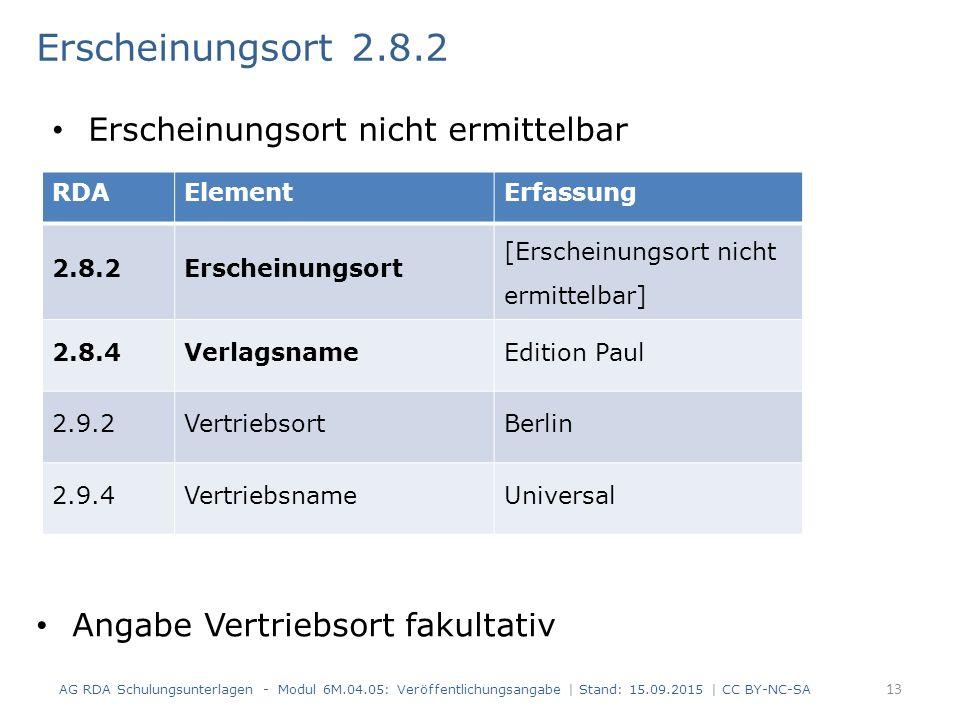 Erscheinungsort 2.8.2 AG RDA Schulungsunterlagen - Modul 6M.04.05: Veröffentlichungsangabe | Stand: 15.09.2015 | CC BY-NC-SA 13 Erscheinungsort nicht