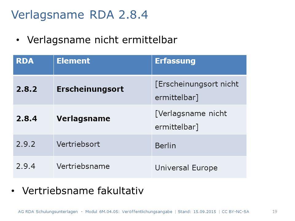 Verlagsname RDA 2.8.4 Vertriebsname fakultativ AG RDA Schulungsunterlagen - Modul 6M.04.05: Veröffentlichungsangabe | Stand: 15.09.2015 | CC BY-NC-SA