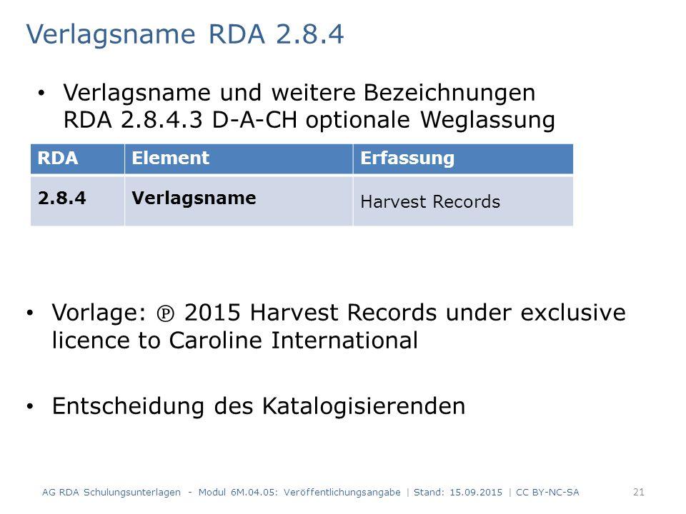 Verlagsname RDA 2.8.4 Vorlage: ℗ 2015 Harvest Records under exclusive licence to Caroline International Entscheidung des Katalogisierenden AG RDA Schu