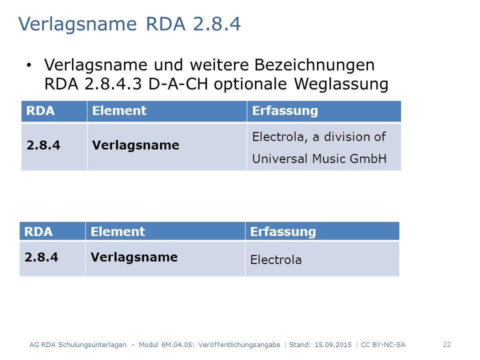 Verlagsname RDA 2.8.4 AG RDA Schulungsunterlagen - Modul 6M.04.05: Veröffentlichungsangabe | Stand: 15.09.2015 | CC BY-NC-SA 22 Verlagsname und weiter