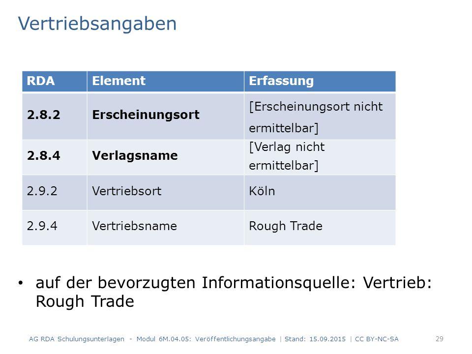 Vertriebsangaben auf der bevorzugten Informationsquelle: Vertrieb: Rough Trade AG RDA Schulungsunterlagen - Modul 6M.04.05: Veröffentlichungsangabe |