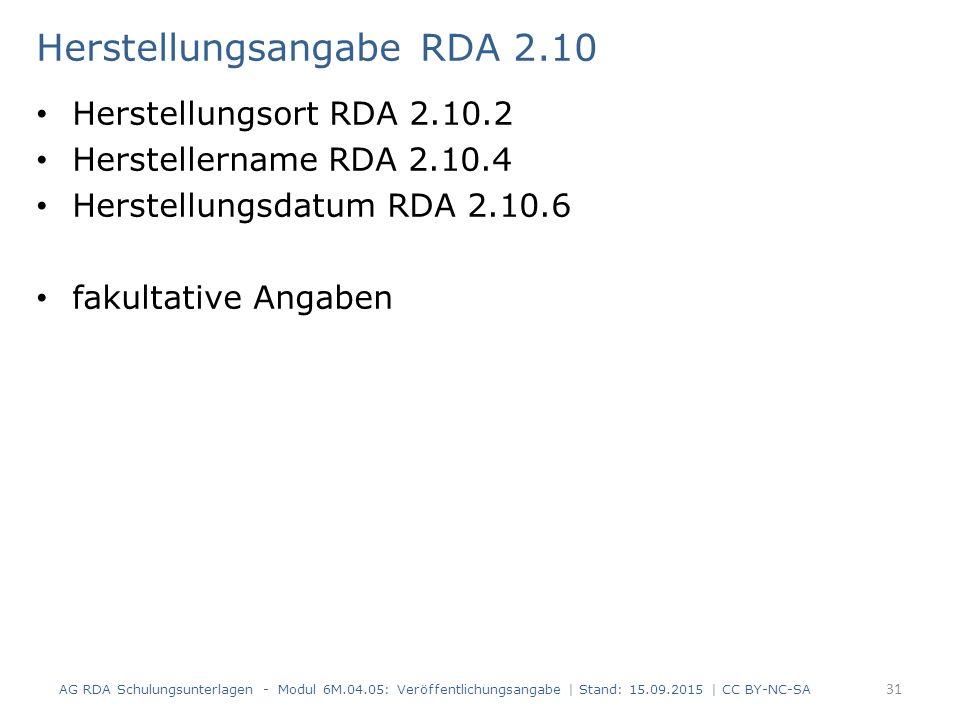 Herstellungsangabe RDA 2.10 Herstellungsort RDA 2.10.2 Herstellername RDA 2.10.4 Herstellungsdatum RDA 2.10.6 fakultative Angaben AG RDA Schulungsunte