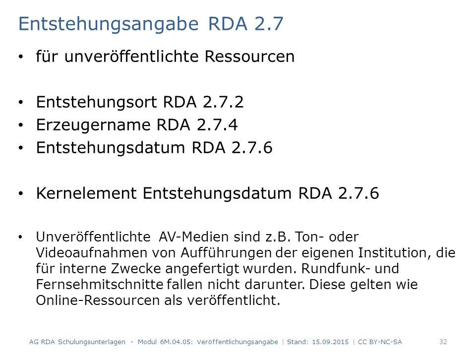 Entstehungsangabe RDA 2.7 für unveröffentlichte Ressourcen Entstehungsort RDA 2.7.2 Erzeugername RDA 2.7.4 Entstehungsdatum RDA 2.7.6 Kernelement Ents