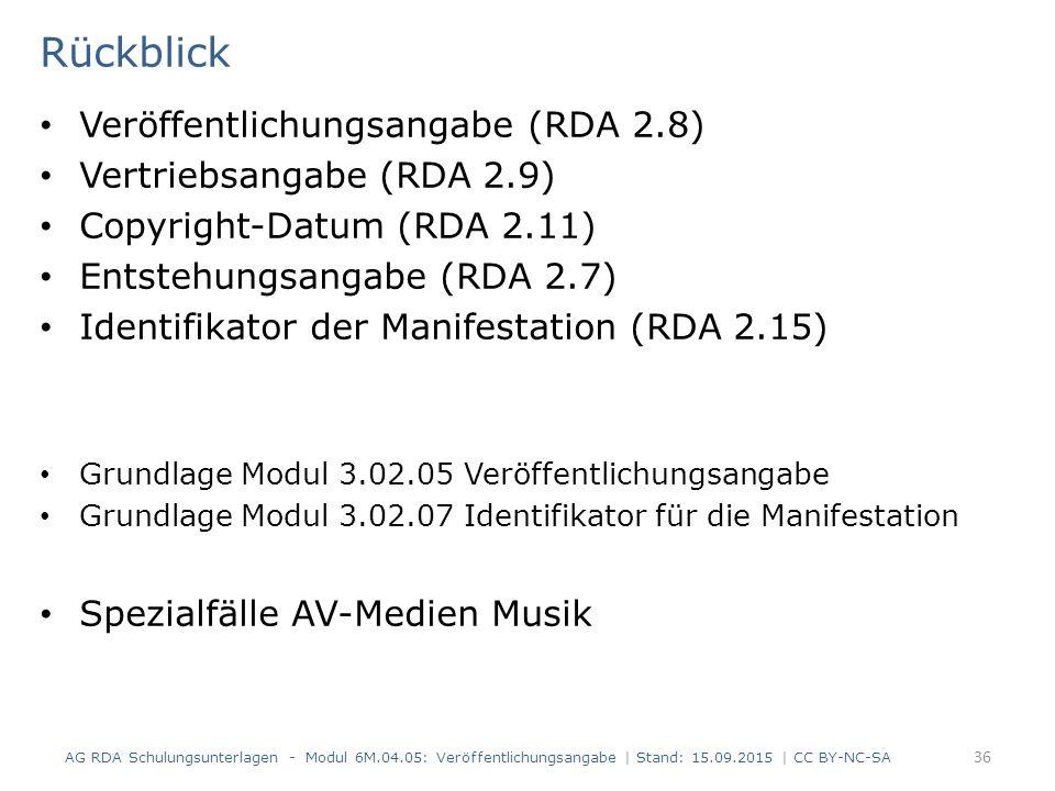 Rückblick Veröffentlichungsangabe (RDA 2.8) Vertriebsangabe (RDA 2.9) Copyright-Datum (RDA 2.11) Entstehungsangabe (RDA 2.7) Identifikator der Manifes