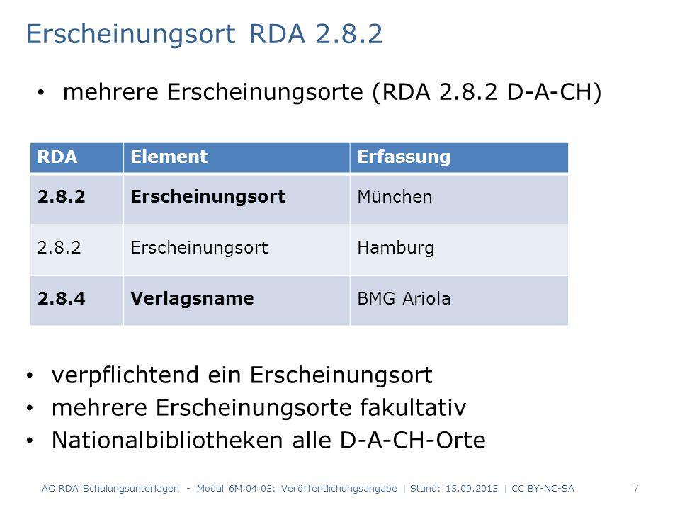 Erscheinungsort RDA 2.8.2 verpflichtend ein Erscheinungsort mehrere Erscheinungsorte fakultativ Nationalbibliotheken alle D-A-CH-Orte AG RDA Schulungs