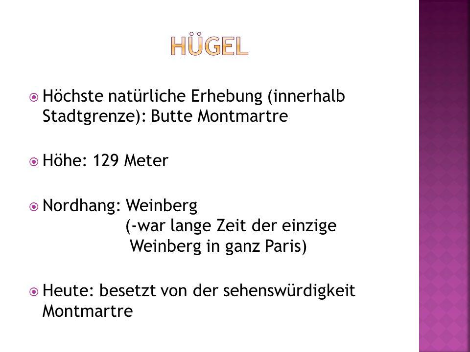  Höchste natürliche Erhebung (innerhalb Stadtgrenze): Butte Montmartre  Höhe: 129 Meter  Nordhang: Weinberg (-war lange Zeit der einzige Weinberg i