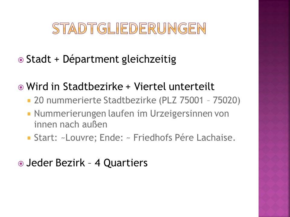  Stadt + Départment gleichzeitig  Wird in Stadtbezirke + Viertel unterteilt  20 nummerierte Stadtbezirke (PLZ 75001 – 75020)  Nummerierungen laufe