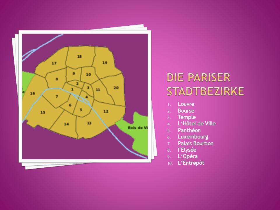 1. Louvre 2. Bourse 3. Temple 4. L'Hôtel de Ville 5. Panthéon 6. Luxembourg 7. Palais Bourbon 8. I'Elysée 9. L'Opéra 10. L'Entrepôt
