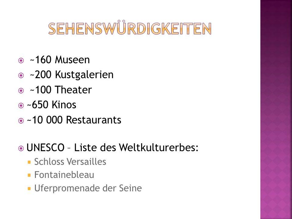  ~160 Museen  ~200 Kustgalerien  ~100 Theater  ~650 Kinos  ~10 000 Restaurants  UNESCO – Liste des Weltkulturerbes:  Schloss Versailles  Fonta