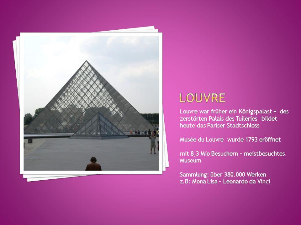 Louvre war früher ein Königspalast + des zerstörten Palais des Tuileries bildet heute das Pariser Stadtschloss Musée du Louvre wurde 1793 eröffnet mit