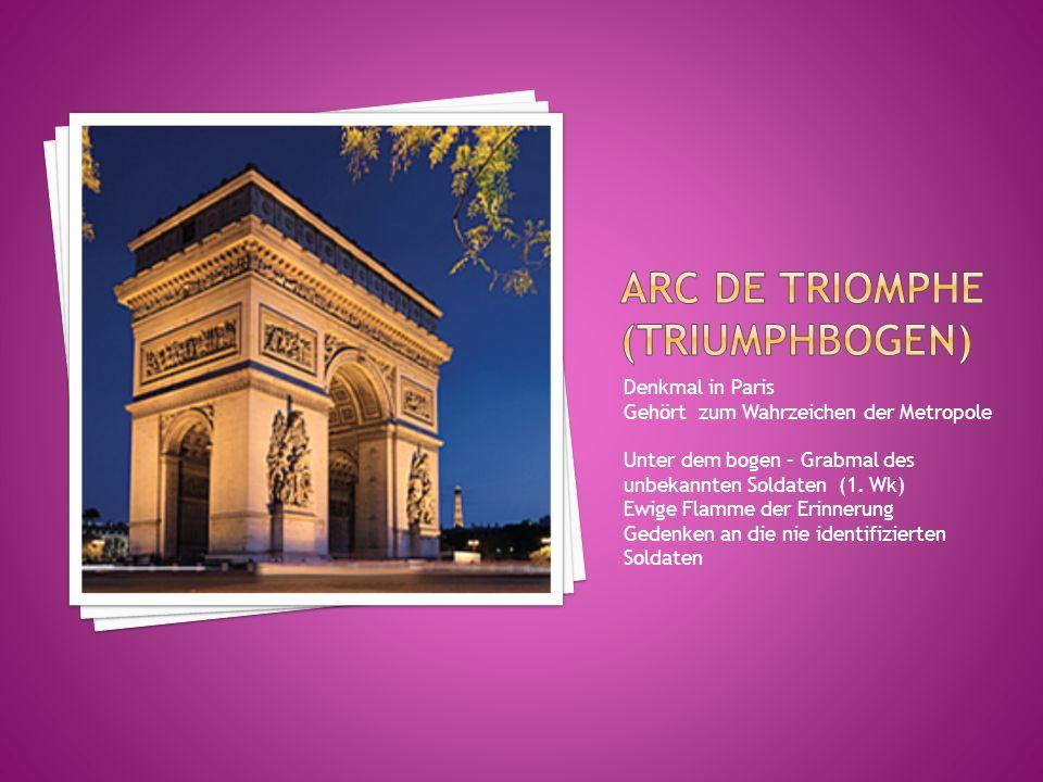 Denkmal in Paris Gehört zum Wahrzeichen der Metropole Unter dem bogen – Grabmal des unbekannten Soldaten (1. Wk) Ewige Flamme der Erinnerung Gedenken