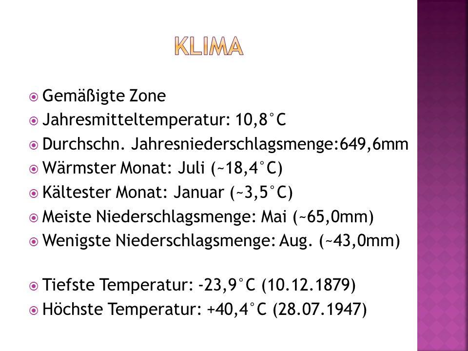  Gemäßigte Zone  Jahresmitteltemperatur: 10,8°C  Durchschn. Jahresniederschlagsmenge:649,6mm  Wärmster Monat: Juli (~18,4°C)  Kältester Monat: Ja