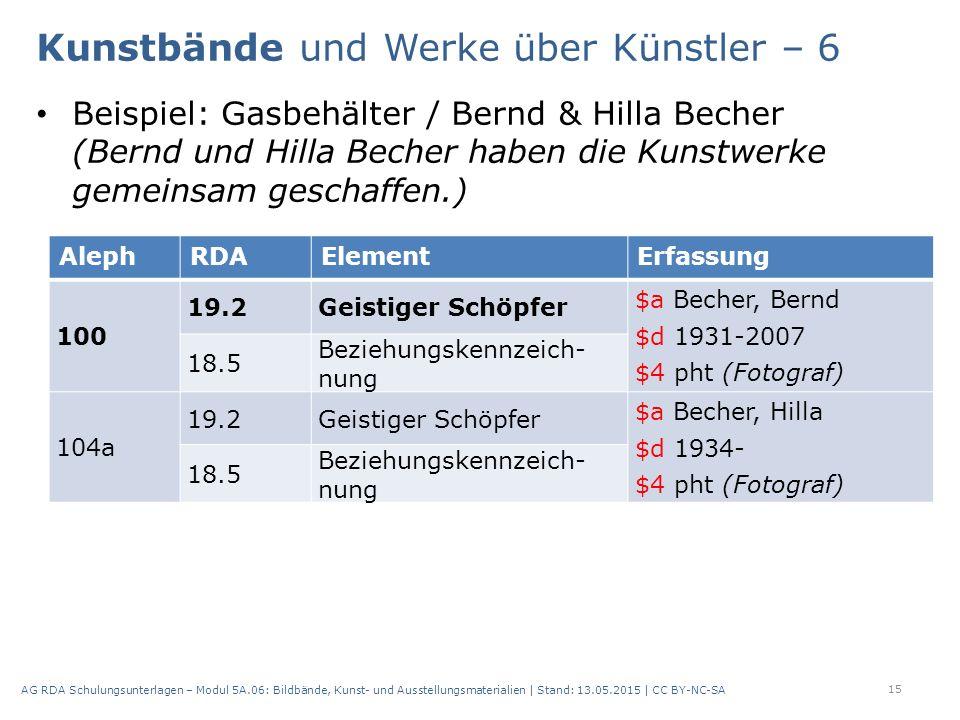 Beispiel: Gasbehälter / Bernd & Hilla Becher (Bernd und Hilla Becher haben die Kunstwerke gemeinsam geschaffen.) 15 AG RDA Schulungsunterlagen – Modul 5A.06: Bildbände, Kunst- und Ausstellungsmaterialien | Stand: 13.05.2015 | CC BY-NC-SA AlephRDAElementErfassung 100 19.2Geistiger Schöpfer $a Becher, Bernd $d 1931-2007 $4 pht (Fotograf) 18.5 Beziehungskennzeich nung 104a 19.2Geistiger Schöpfer $a Becher, Hilla $d 1934- $4 pht (Fotograf) 18.5 Beziehungskennzeich nung Kunstbände und Werke über Künstler – 6
