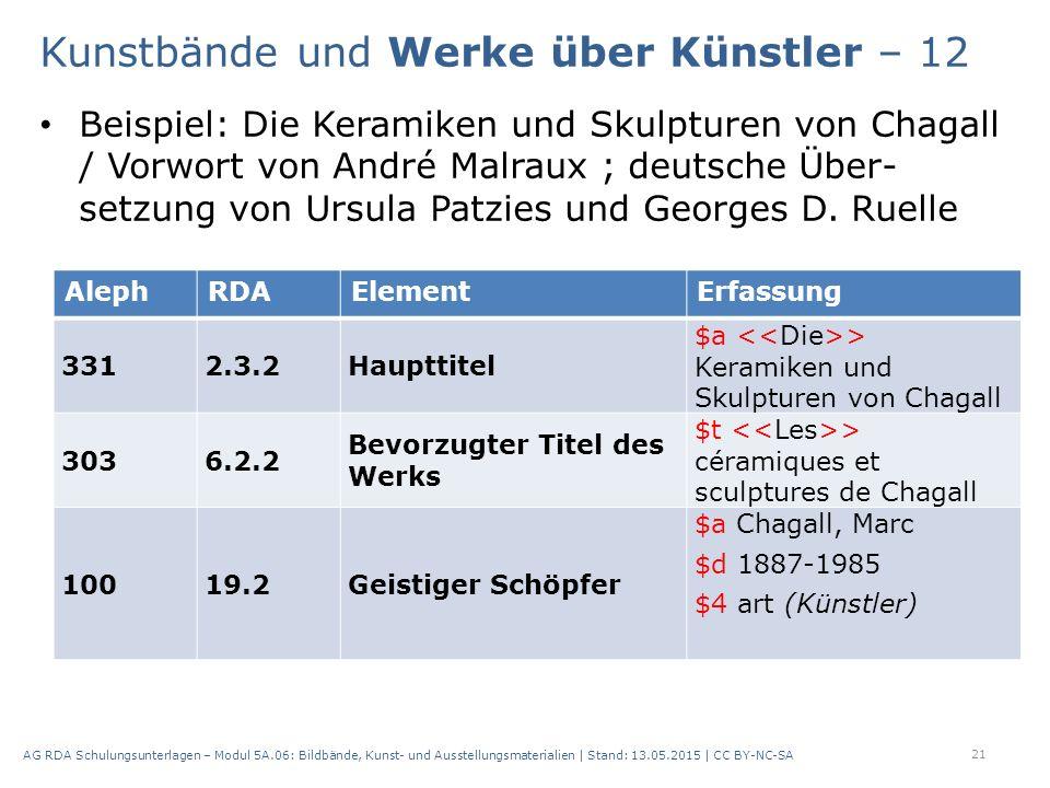 Beispiel: Die Keramiken und Skulpturen von Chagall / Vorwort von André Malraux ; deutsche Über- setzung von Ursula Patzies und Georges D.