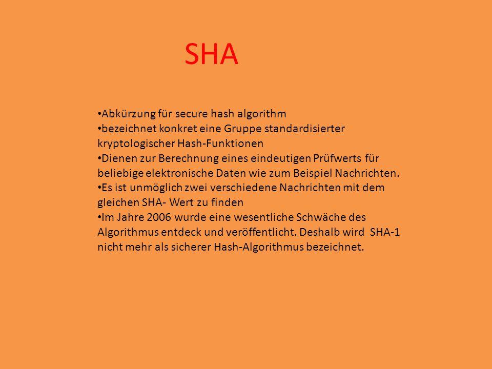 SHA Abkürzung für secure hash algorithm bezeichnet konkret eine Gruppe standardisierter kryptologischer Hash-Funktionen Dienen zur Berechnung eines eindeutigen Prüfwerts für beliebige elektronische Daten wie zum Beispiel Nachrichten.