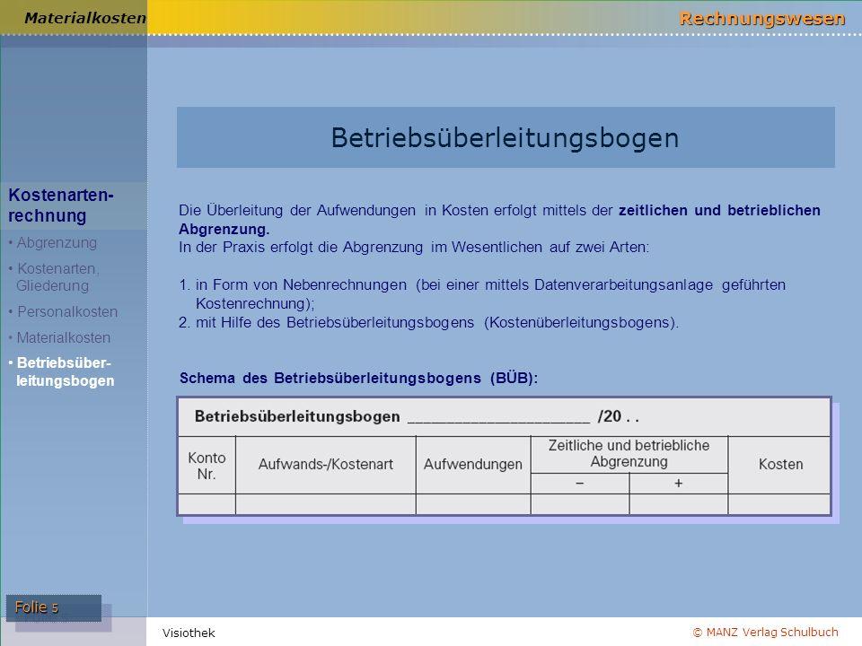 © MANZ Verlag Schulbuch Rechnungswesen Folie 5 Visiothek Betriebsüberleitungsbogen Materialkosten Kostenarten- rechnung Abgrenzung Kostenarten, Gliede