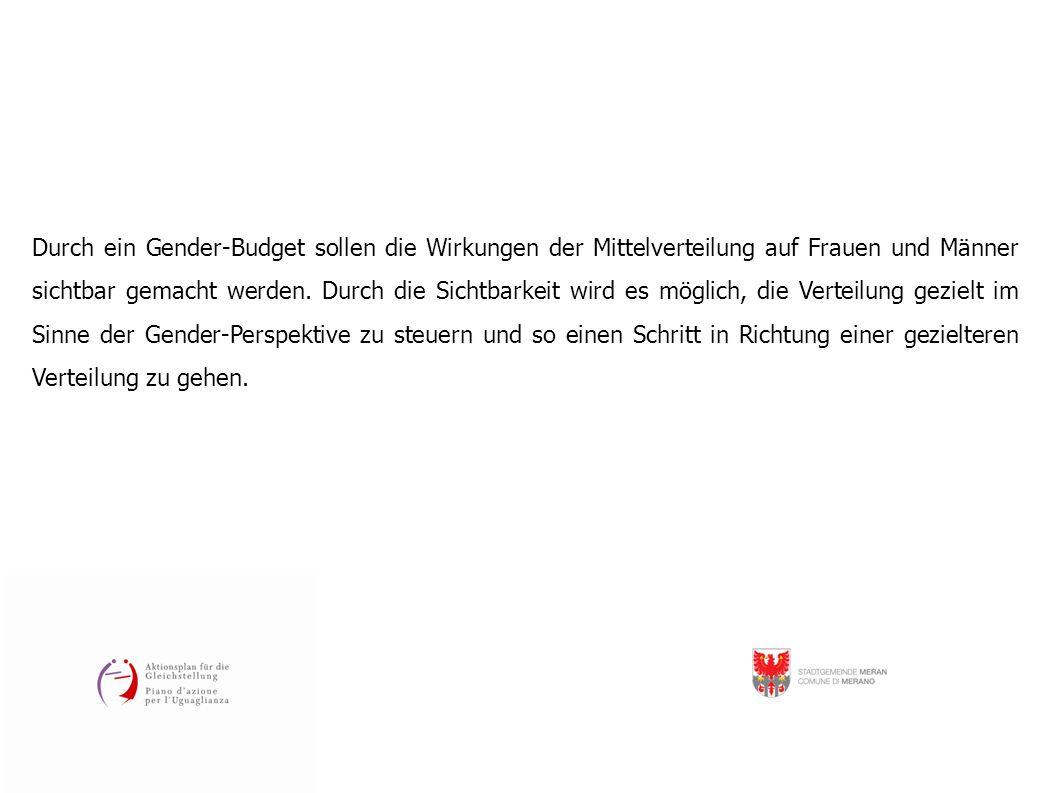 Durch ein Gender-Budget sollen die Wirkungen der Mittelverteilung auf Frauen und Männer sichtbar gemacht werden. Durch die Sichtbarkeit wird es möglic