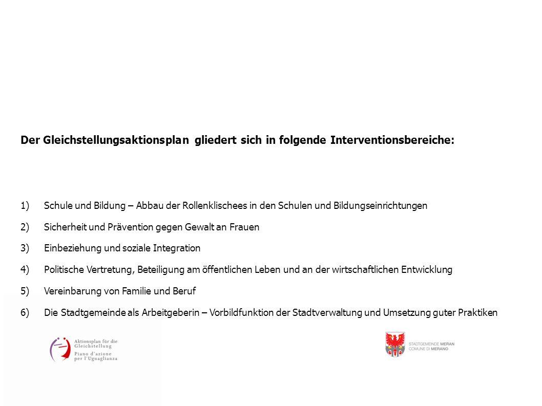 Der Gleichstellungsaktionsplan gliedert sich in folgende Interventionsbereiche: 1) Schule und Bildung – Abbau der Rollenklischees in den Schulen und B