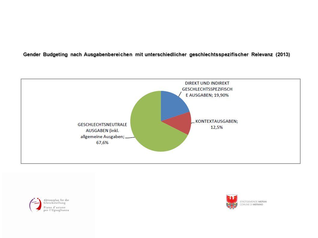 Gender Budgeting nach Ausgabenbereichen mit unterschiedlicher geschlechtsspezifischer Relevanz (2013)