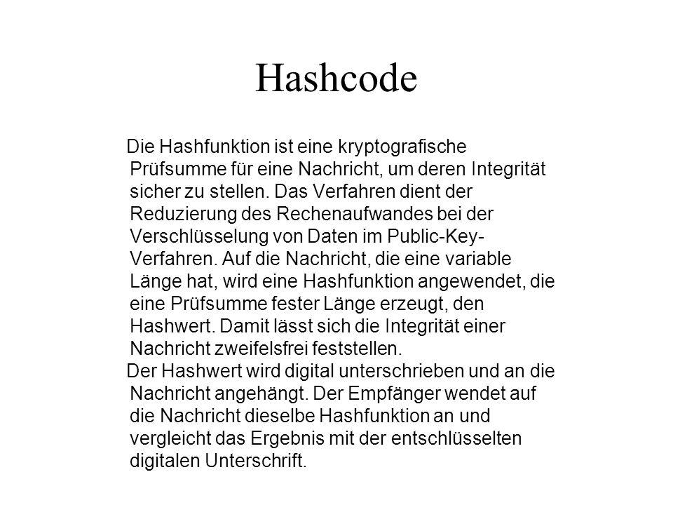 Hashcode Die Hashfunktion ist eine kryptografische Prüfsumme für eine Nachricht, um deren Integrität sicher zu stellen. Das Verfahren dient der Reduzi