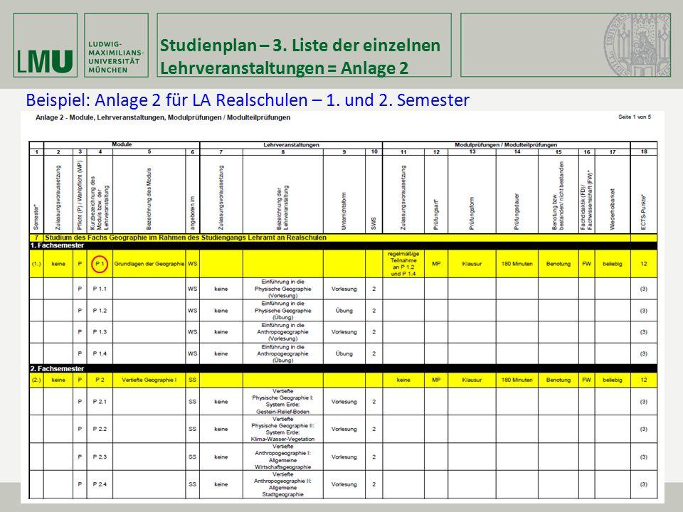 Studienplan – 3. Liste der einzelnen Lehrveranstaltungen = Anlage 2 Beispiel: Anlage 2 für LA Realschulen – 1. und 2. Semester