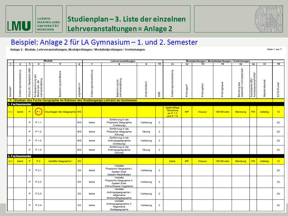 Beispiel: Anlage 2 für LA Gymnasium – 1. und 2. Semester Studienplan – 3. Liste der einzelnen Lehrveranstaltungen = Anlage 2