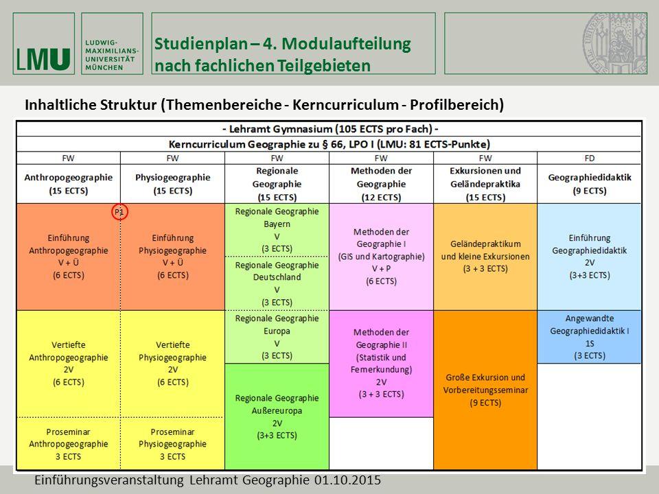 Studienplan – 4. Modulaufteilung nach fachlichen Teilgebieten Inhaltliche Struktur (Themenbereiche - Kerncurriculum - Profilbereich) P1 Einführungsver