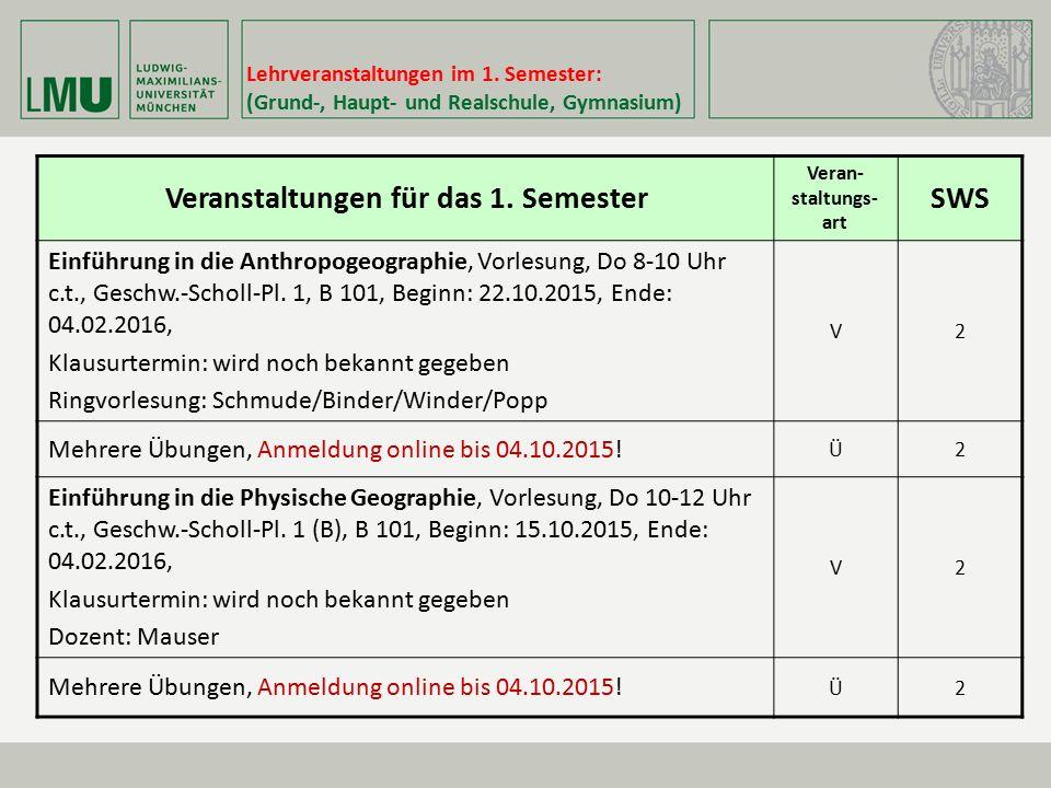Lehrveranstaltungen im 1. Semester: (Grund-, Haupt- und Realschule, Gymnasium) Veranstaltungen für das 1. Semester Veran- staltungs- art SWS Einführun