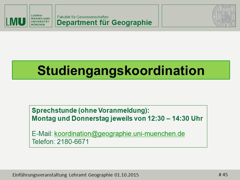 Fakultät für Geowissenschaften Department für Geographie Sprechstunde (ohne Voranmeldung): Montag und Donnerstag jeweils von 12:30 – 14:30 Uhr E-Mail: