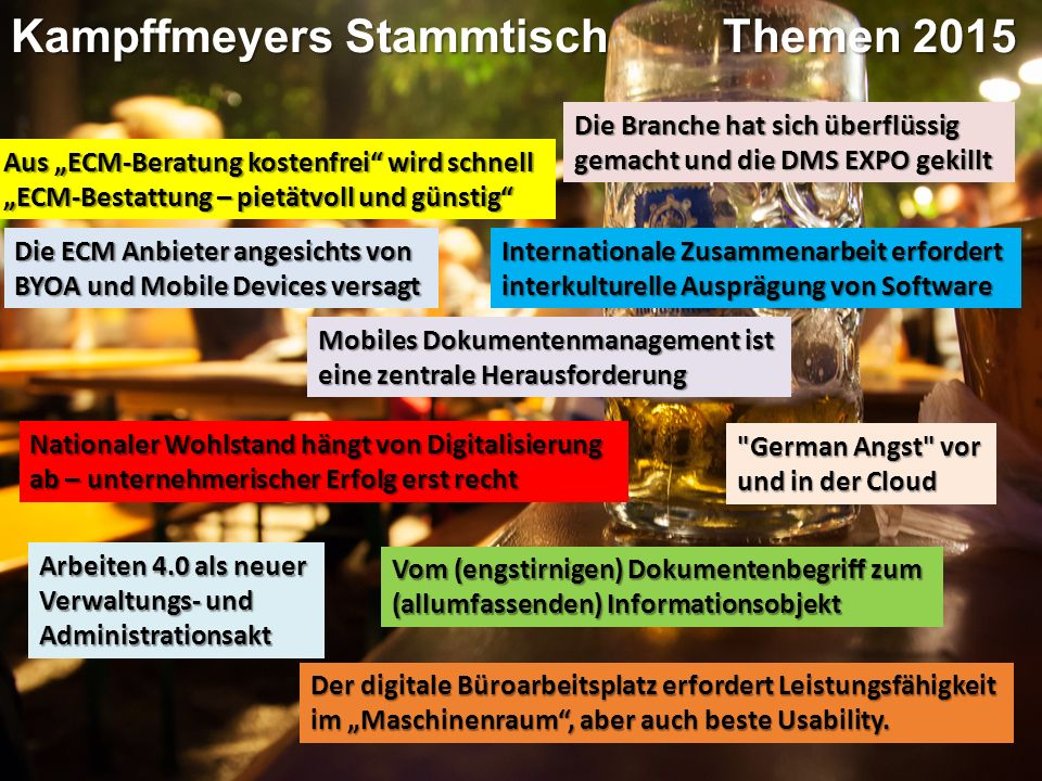 Panel-Diskussion Kampffmeyers StammtischPanel-Diskussion IT&Business 2015Moderation Dr.