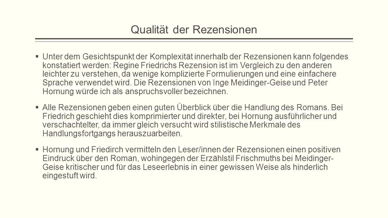 Qualität der Rezensionen  Unter dem Gesichtspunkt der Komplexität innerhalb der Rezensionen kann folgendes konstatiert werden: Regine Friedrichs Reze
