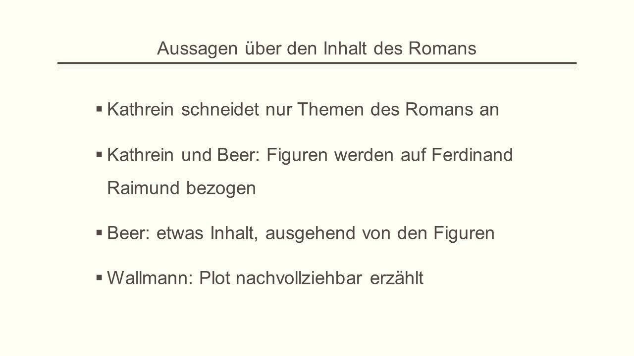 Aussagen über den Inhalt des Romans  Kathrein schneidet nur Themen des Romans an  Kathrein und Beer: Figuren werden auf Ferdinand Raimund bezogen 