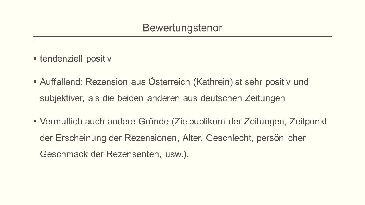 Bewertungstenor  tendenziell positiv  Auffallend: Rezension aus Österreich (Kathrein)ist sehr positiv und subjektiver, als die beiden anderen aus deutschen Zeitungen  Vermutlich auch andere Gründe (Zielpublikum der Zeitungen, Zeitpunkt der Erscheinung der Rezensionen, Alter, Geschlecht, persönlicher Geschmack der Rezensenten, usw.).