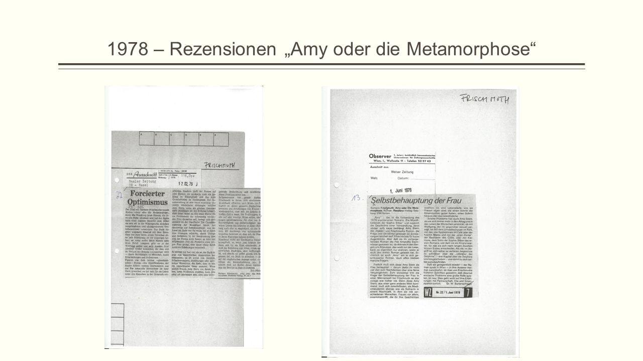"""1978 – Rezensionen """"Amy oder die Metamorphose"""""""