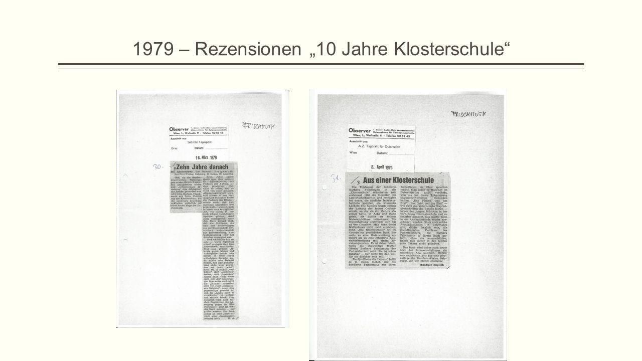 """1979 – Rezensionen """"10 Jahre Klosterschule"""""""