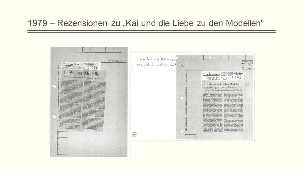 """1979 – Rezensionen zu """"Kai und die Liebe zu den Modellen"""""""