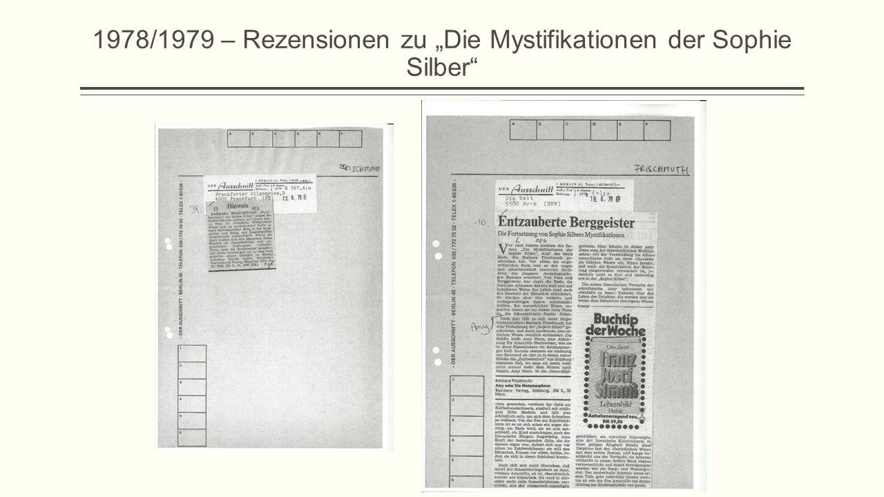 """1978/1979 – Rezensionen zu """"Die Mystifikationen der Sophie Silber"""""""