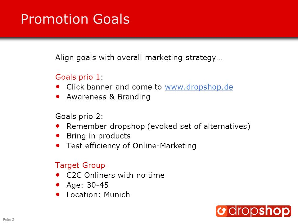 Folie 2 Promotion Goals Align goals with overall marketing strategy… Goals prio 1: Click banner and come to www.dropshop.dewww.dropshop.de Awareness &