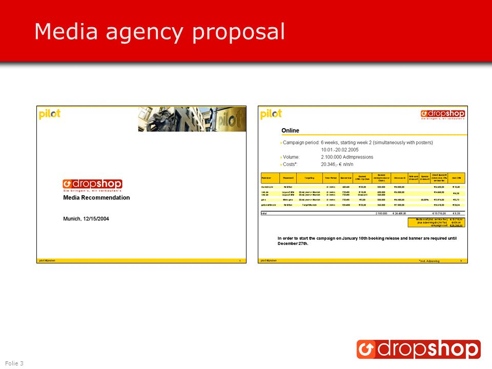 Folie 3 Media agency proposal