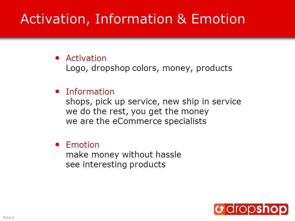 Folie 5 Activation, Information & Emotion Activation Logo, dropshop colors, money, products Information shops, pick up service, new ship in service we