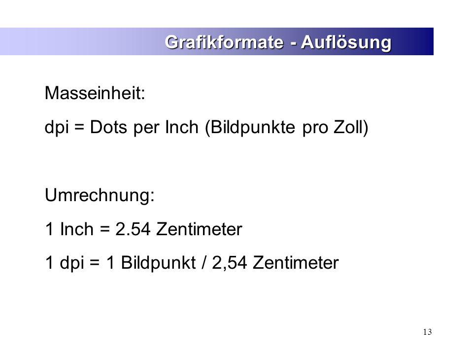 13 Grafikformate - Auflösung Masseinheit: dpi = Dots per Inch (Bildpunkte pro Zoll) Umrechnung: 1 Inch = 2.54 Zentimeter 1 dpi = 1 Bildpunkt / 2,54 Ze